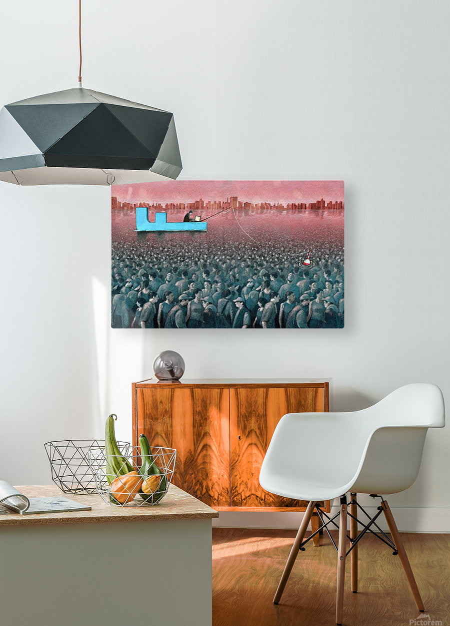 fishing  HD Metal print with Floating Frame on Back