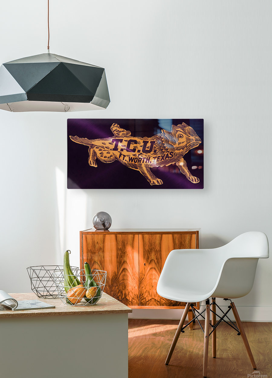 vintage college mascot art tcu horned frogs ft worth texas  HD Metal print with Floating Frame on Back