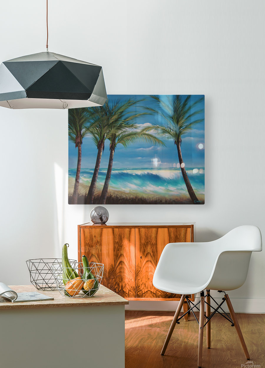 windy beach  HD Metal print with Floating Frame on Back