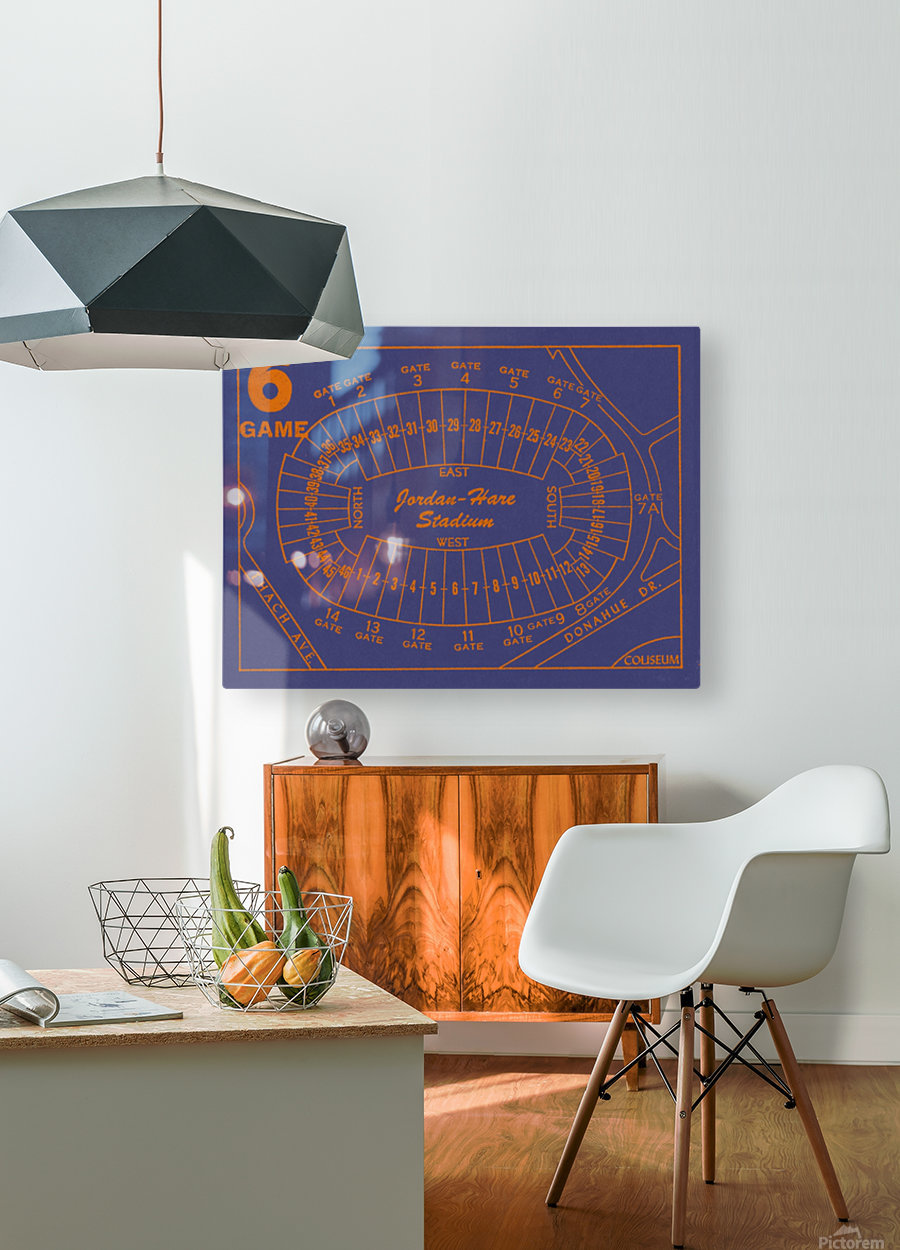 1979 Auburn Tigers Jordan Hare Stadium Map  HD Metal print with Floating Frame on Back