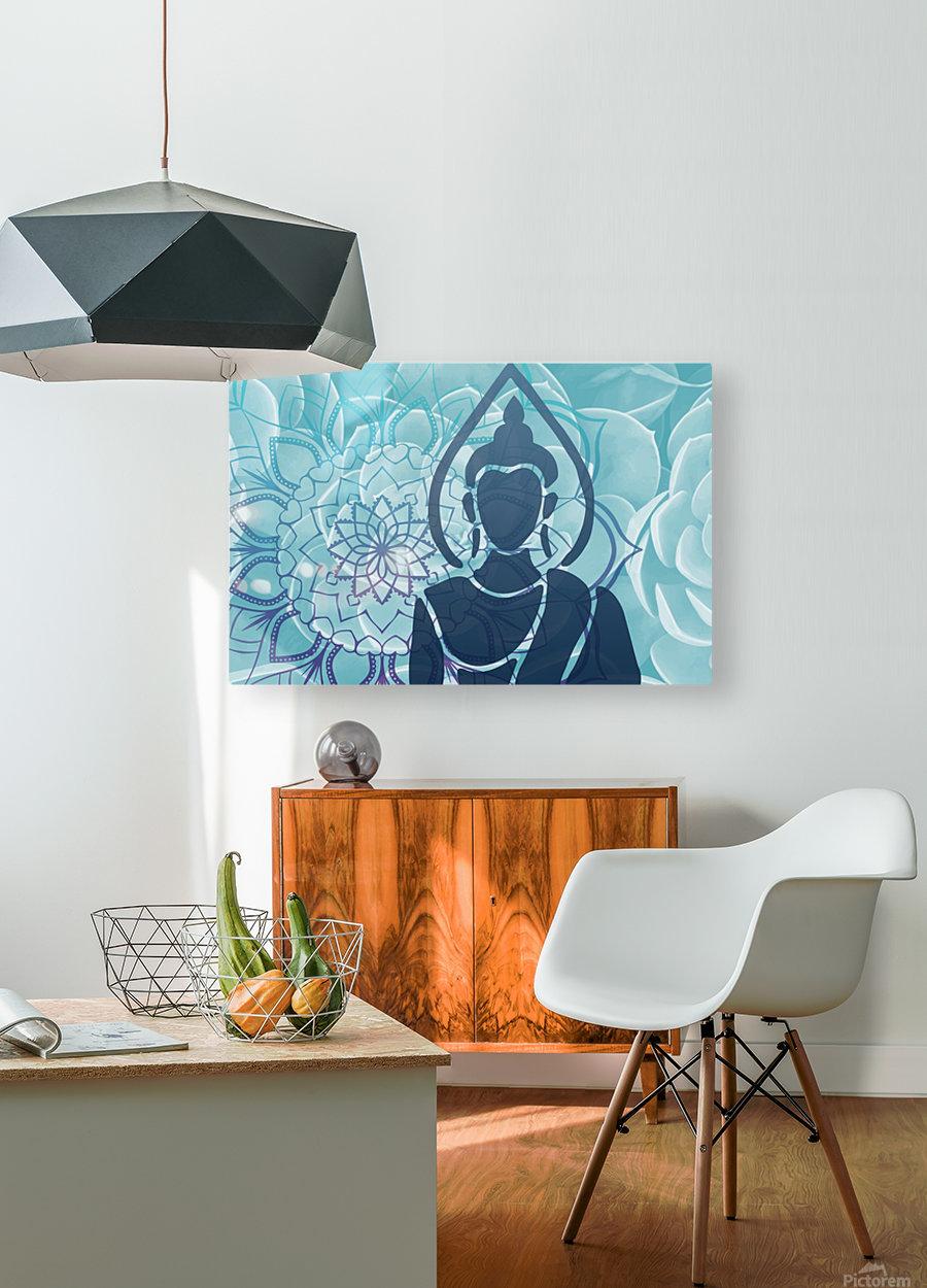 Buddha Mandala blue turqouise  HD Metal print with Floating Frame on Back