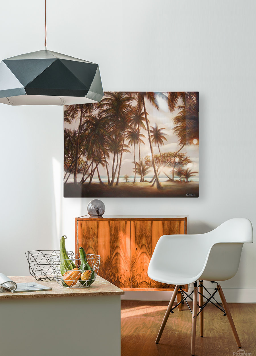 morning beach  HD Metal print with Floating Frame on Back