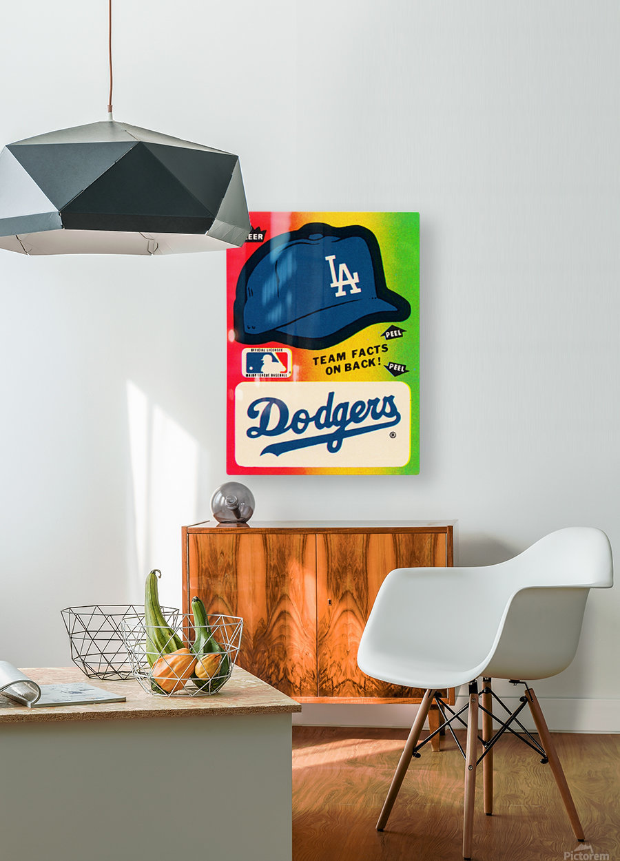 1983 fleer baseball stickers la dodgers ballcap art  HD Metal print with Floating Frame on Back