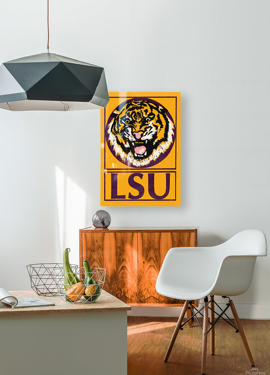 LSU Tigers Retro Print  HD Metal print with Floating Frame on Back
