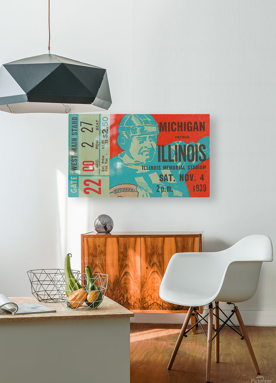 1939 Michigan vs. Illinois  HD Metal print with Floating Frame on Back