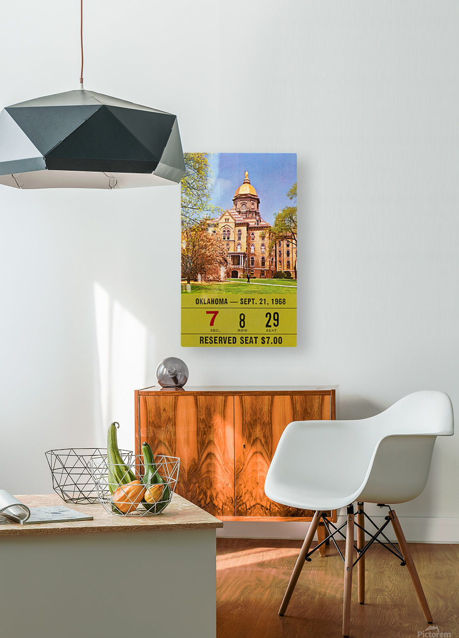 1968 oklahoma sooners notre dame college football south bend indiana sports tickets wall art  HD Metal print with Floating Frame on Back