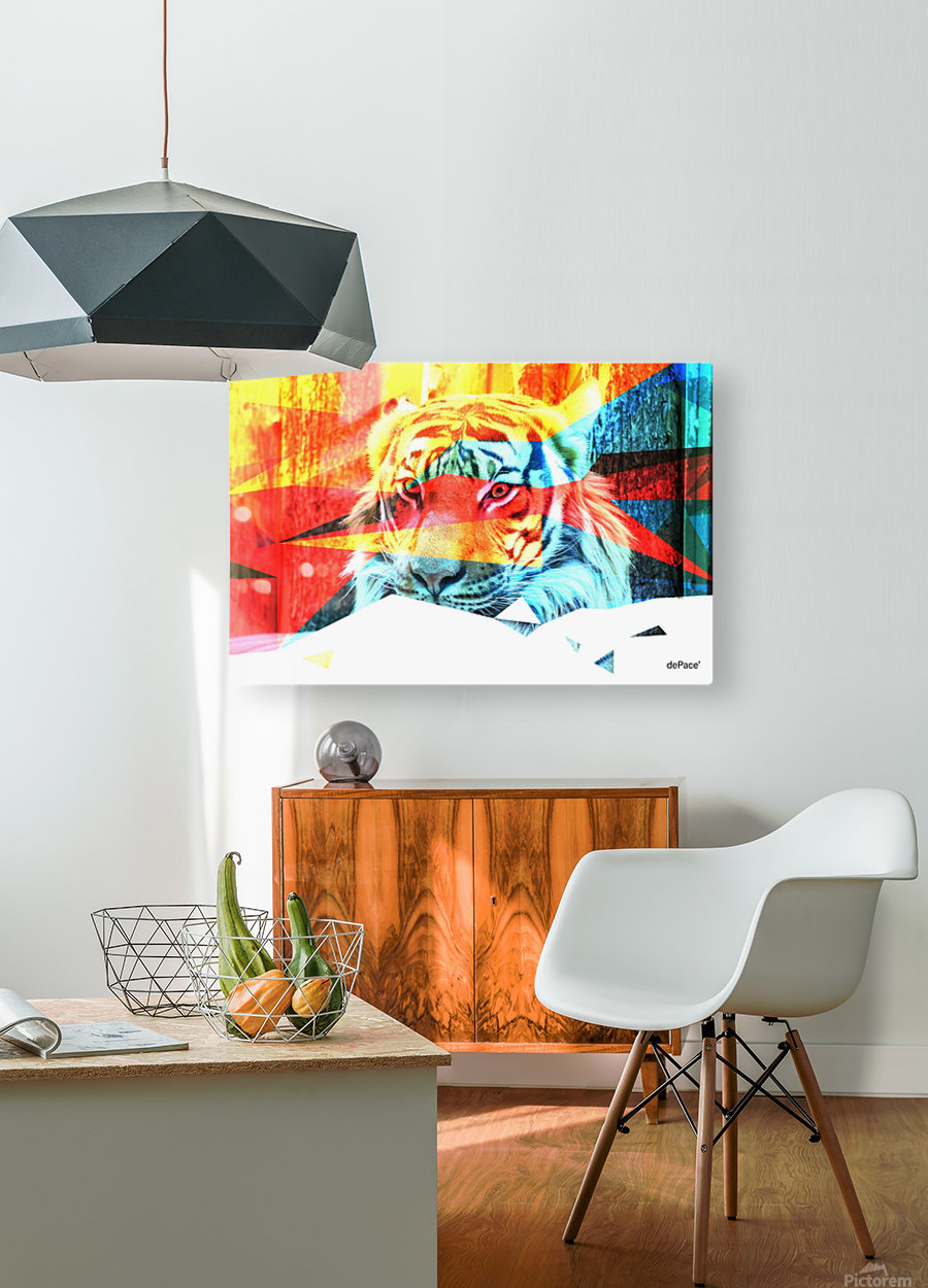 TIGER IN ABSTRACT FORM  HD Metal print with Floating Frame on Back
