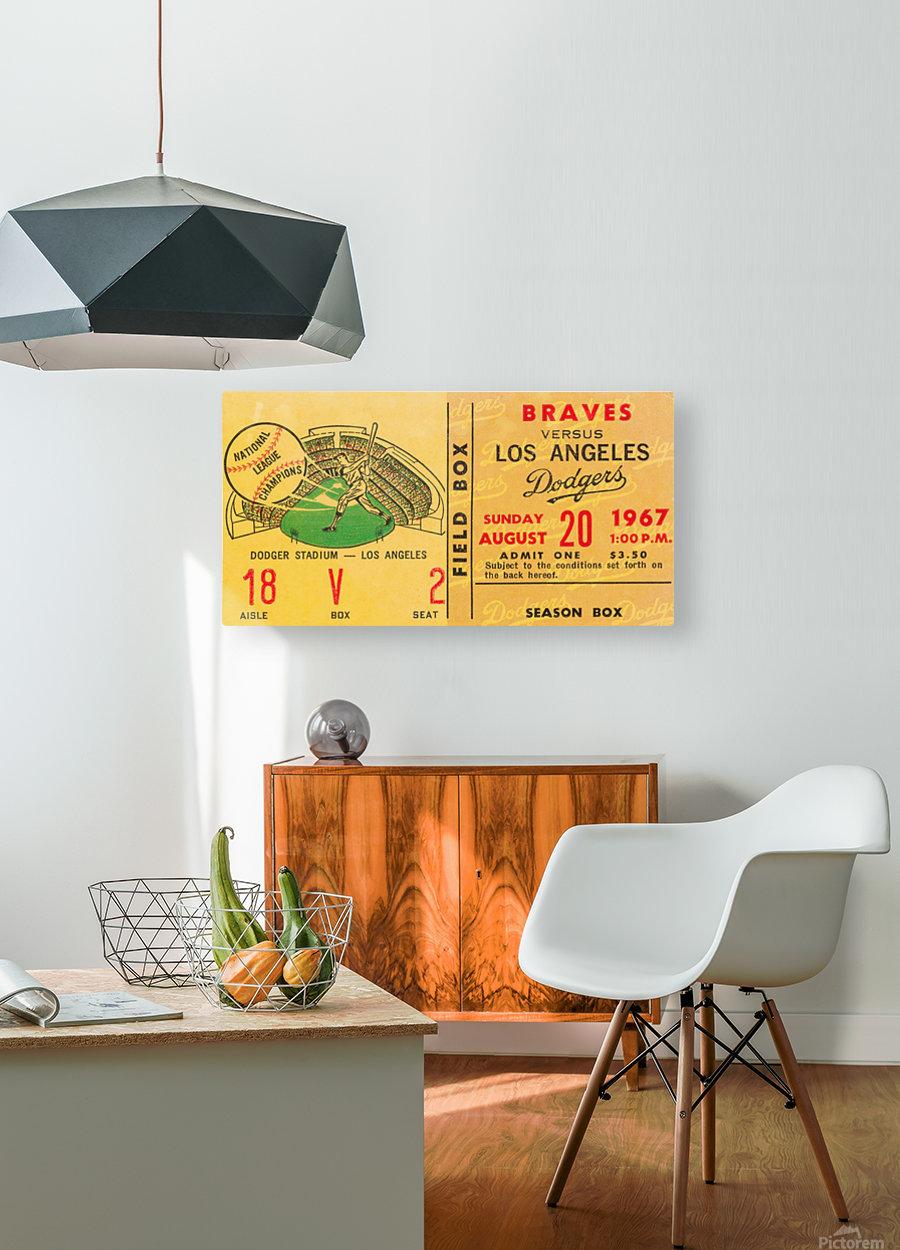 1967 la dodgers atlanta braves baseball sports ticket art   HD Metal print with Floating Frame on Back