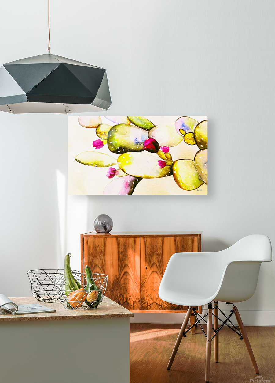 water color cactus flower  HD Metal print with Floating Frame on Back