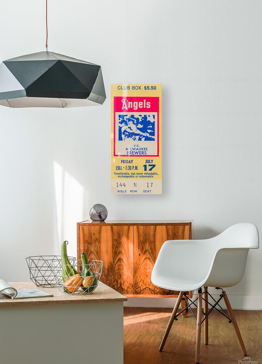 1981 california angels baseball ticket stub sports wall art  HD Metal print with Floating Frame on Back
