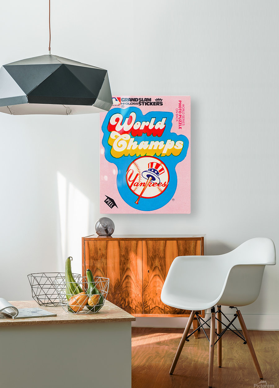 1979 fleer sticker new york yankees world champs poster  HD Metal print with Floating Frame on Back