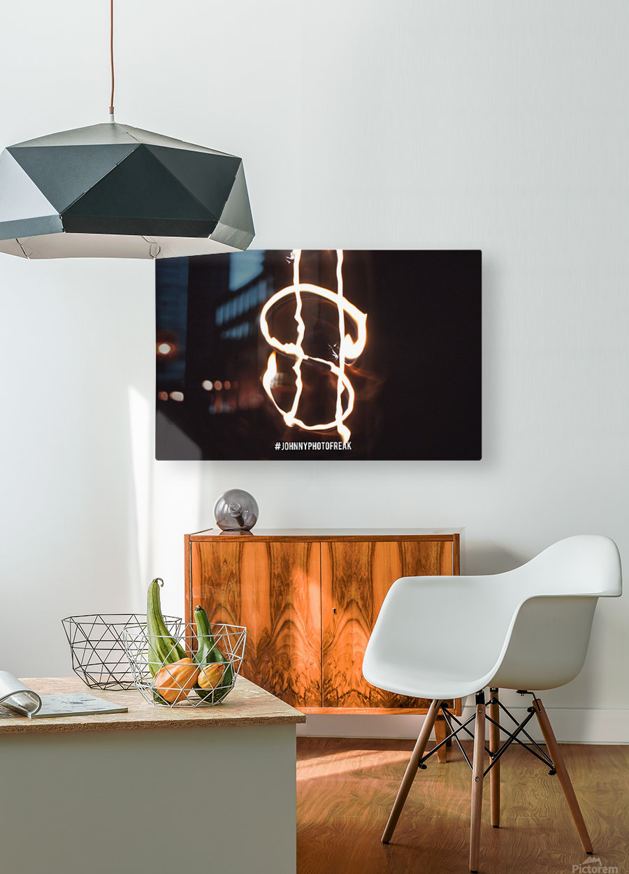 Money light painting fire  HD Metal print with Floating Frame on Back
