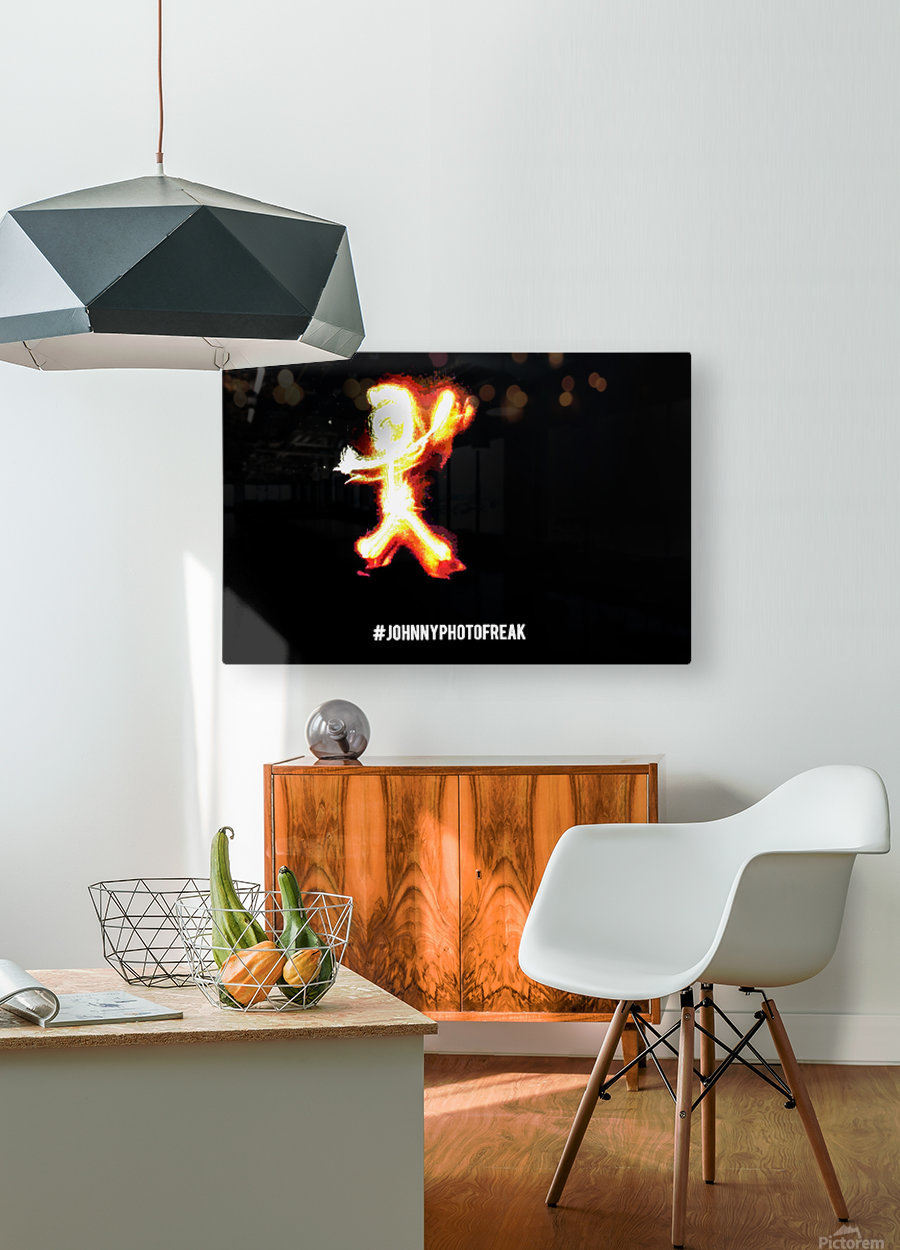 Fire Stickman  HD Metal print with Floating Frame on Back