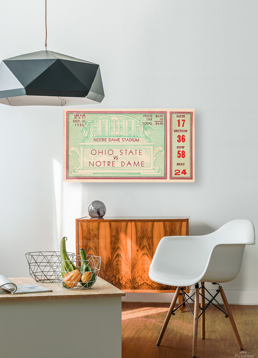 1936 notre dame ohio state football ticket stub sports art  HD Metal print with Floating Frame on Back
