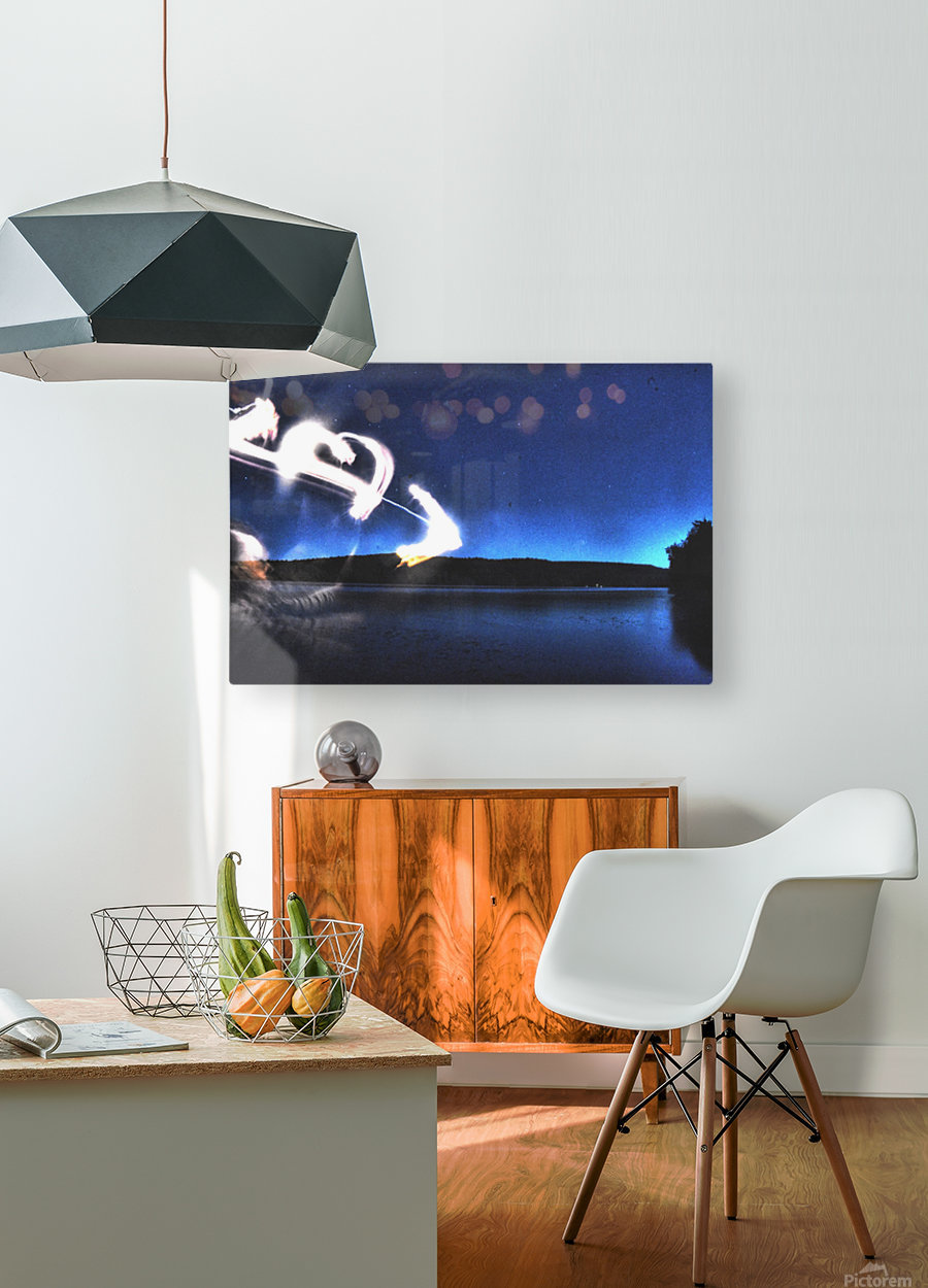 Light trail   HD Metal print with Floating Frame on Back