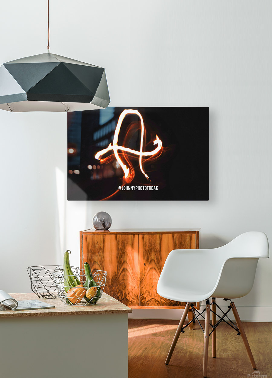 A Fire writing  HD Metal print with Floating Frame on Back