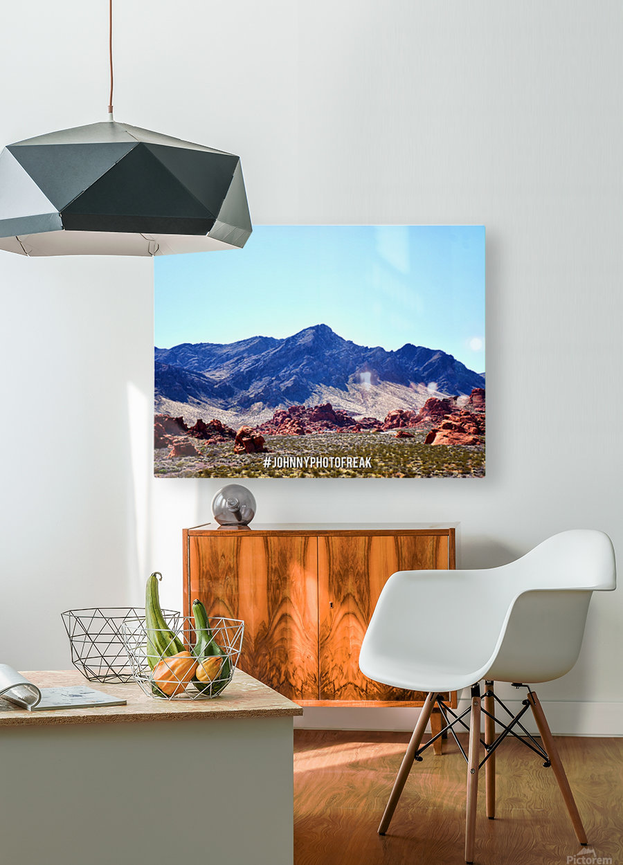 Canyon and mountain   HD Metal print with Floating Frame on Back