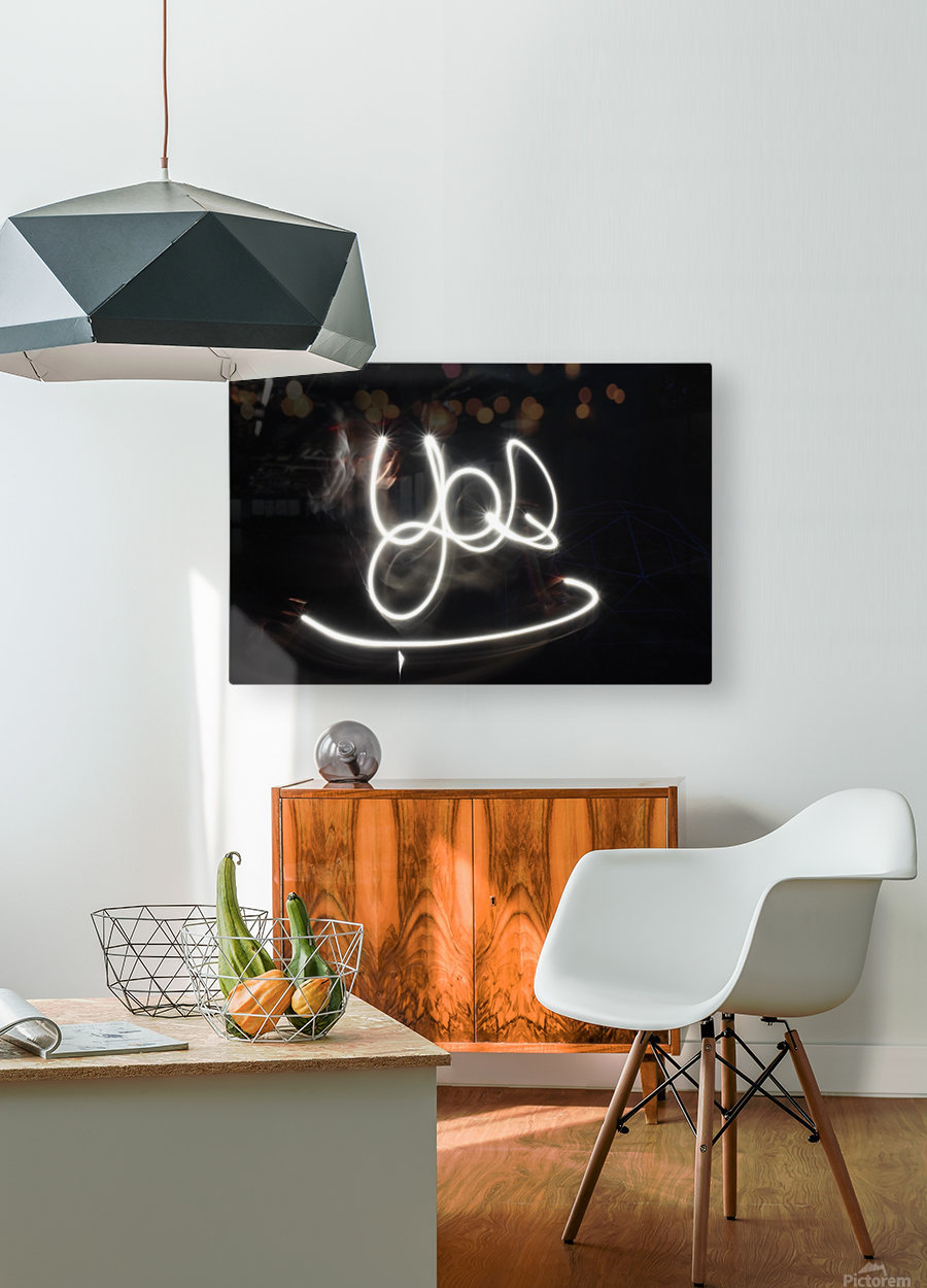 Yes word   HD Metal print with Floating Frame on Back