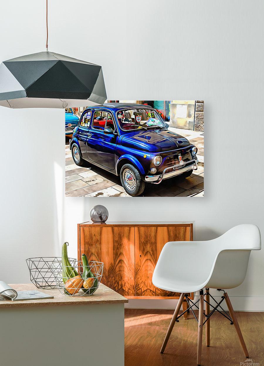Fiat 500 Dark Blue Version  HD Metal print with Floating Frame on Back