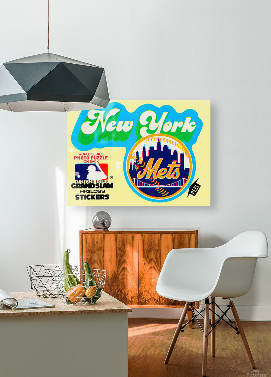 1979 fleer hi gloss sticker new york mets wall art  HD Metal print with Floating Frame on Back