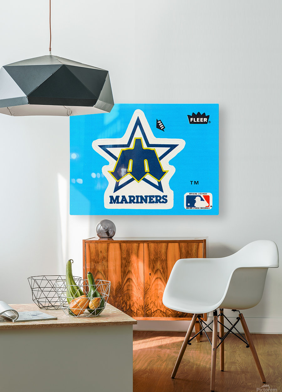 1982 fleer sticker seattle mariners reproduction art  HD Metal print with Floating Frame on Back