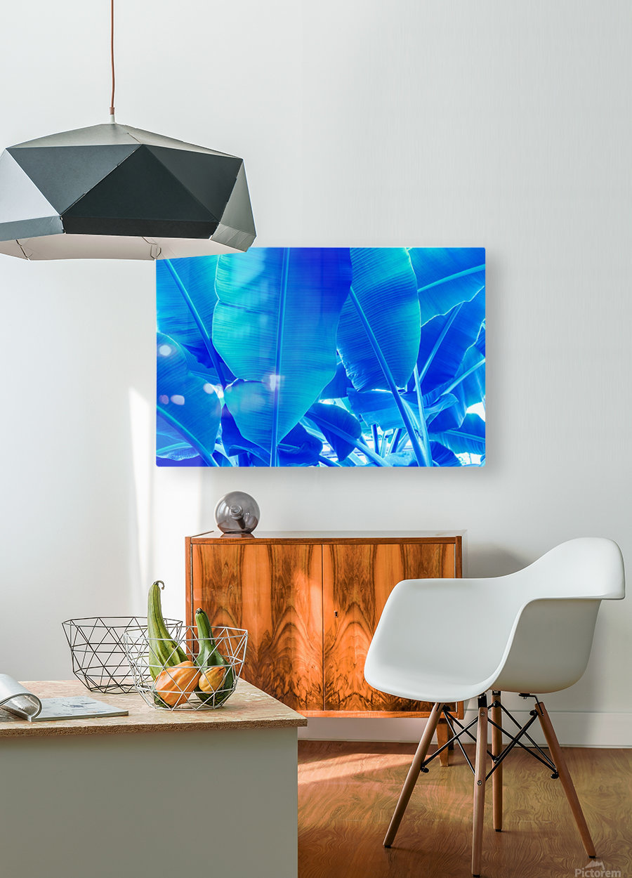 Blue Bananas - Re-Imagined Tropical Biophilia  HD Metal print with Floating Frame on Back