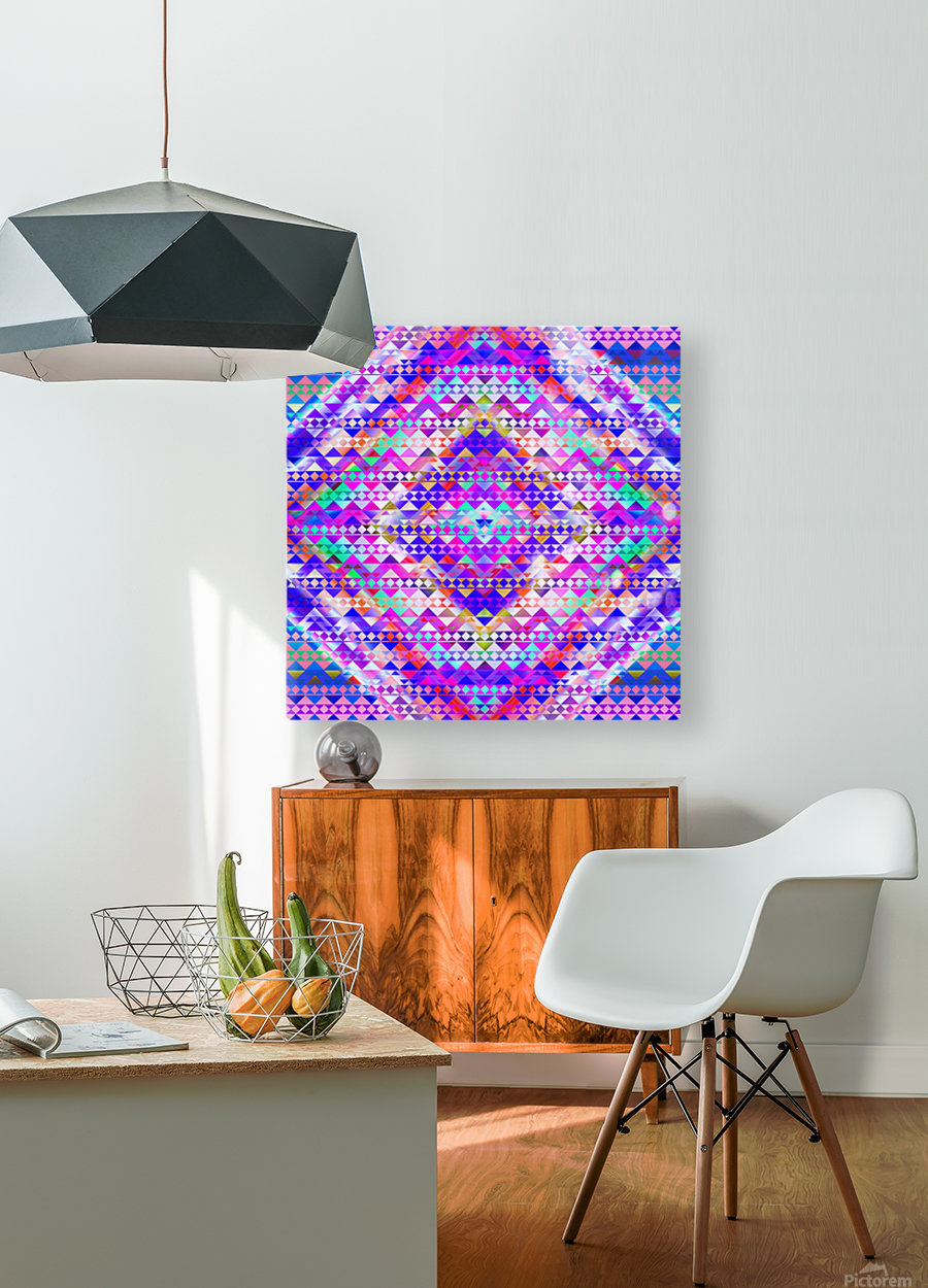Mayan Pattern Blue  HD Metal print with Floating Frame on Back