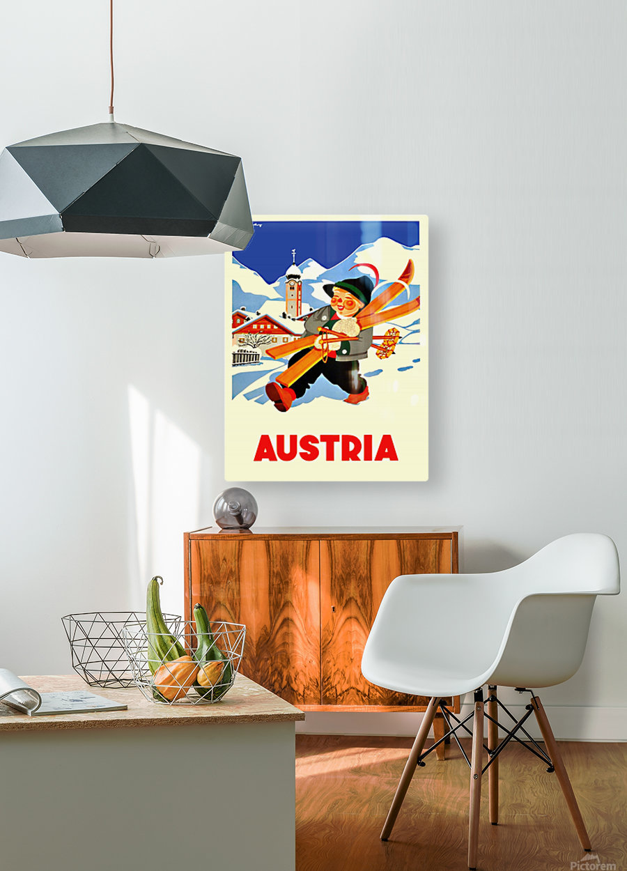 Little Skier from Austria  HD Metal print with Floating Frame on Back