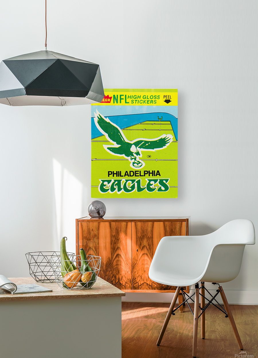 1981 fleer nfl high gloss stickers philadelphia eagles wall art  HD Metal print with Floating Frame on Back