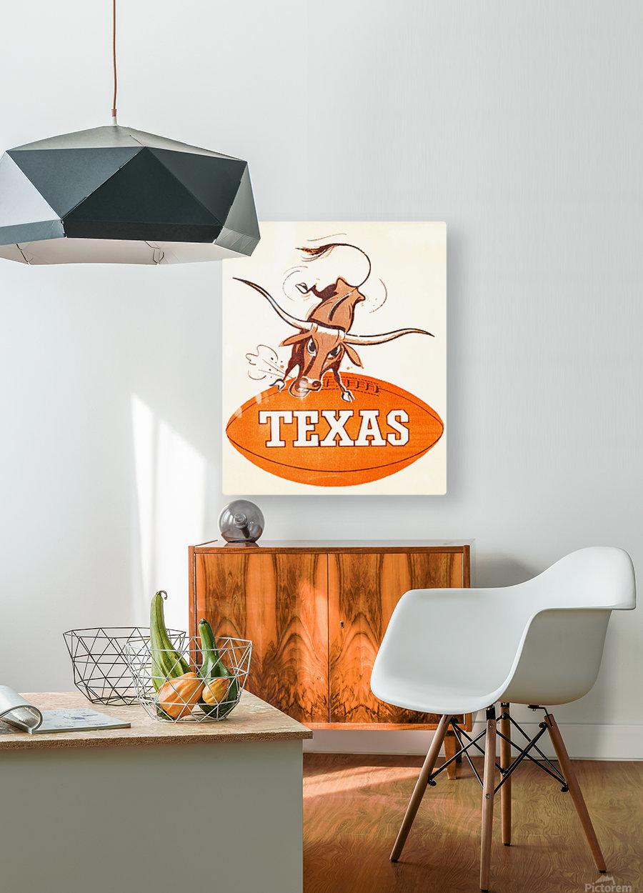 1957 texas longhorns vintage football art  HD Metal print with Floating Frame on Back