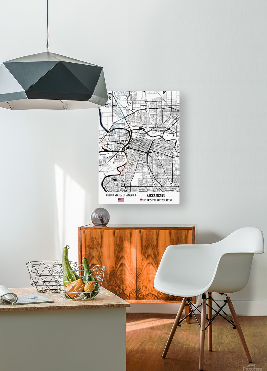 Sacramento USA  HD Metal print with Floating Frame on Back