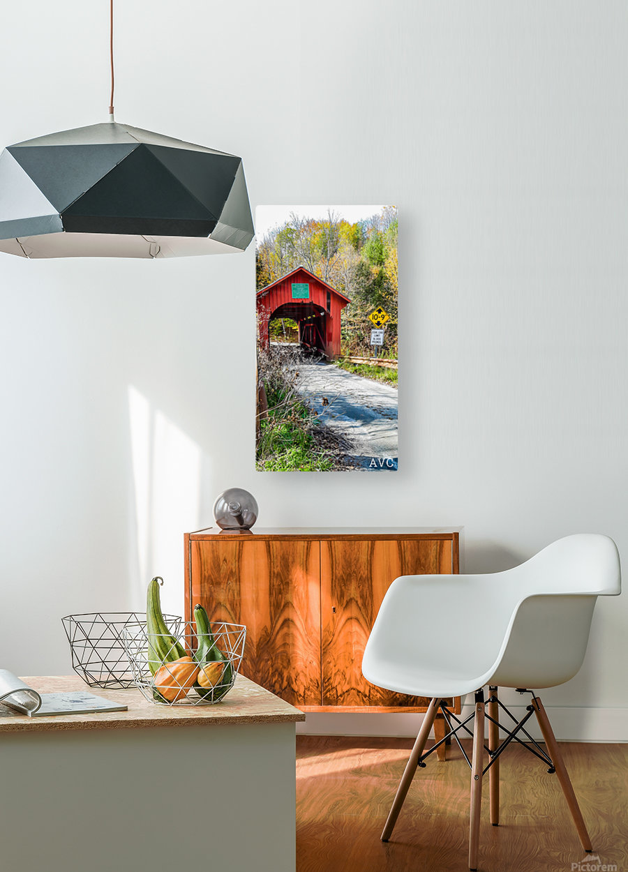 Slaughterhouse Bridge Northfield VT-- Autumn  HD Metal print with Floating Frame on Back