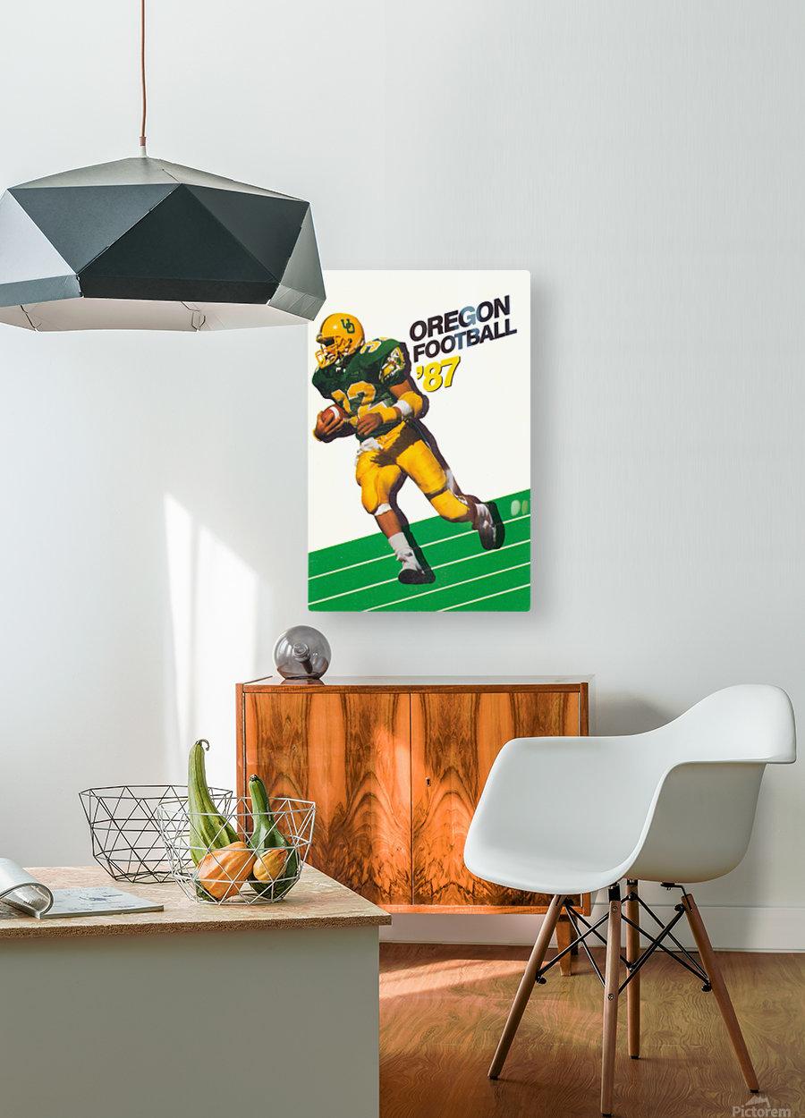 1987 oregon ducks retro football poster  HD Metal print with Floating Frame on Back