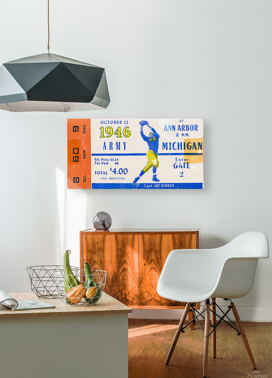1946 michigan army ann arbor college football ticket art  HD Metal print with Floating Frame on Back