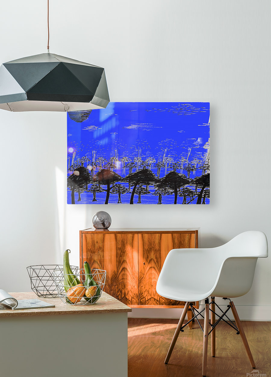 Trees vs sun blue  HD Metal print with Floating Frame on Back