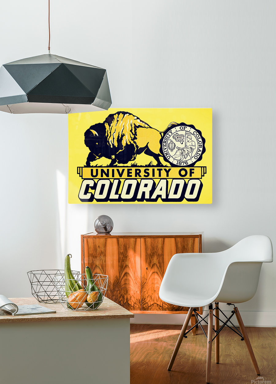 1950s vintage college art university of colorado buffaloes boulder  HD Metal print with Floating Frame on Back