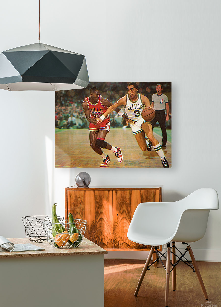 1985 Dennis Johnson vs. Michael Jordan  HD Metal print with Floating Frame on Back