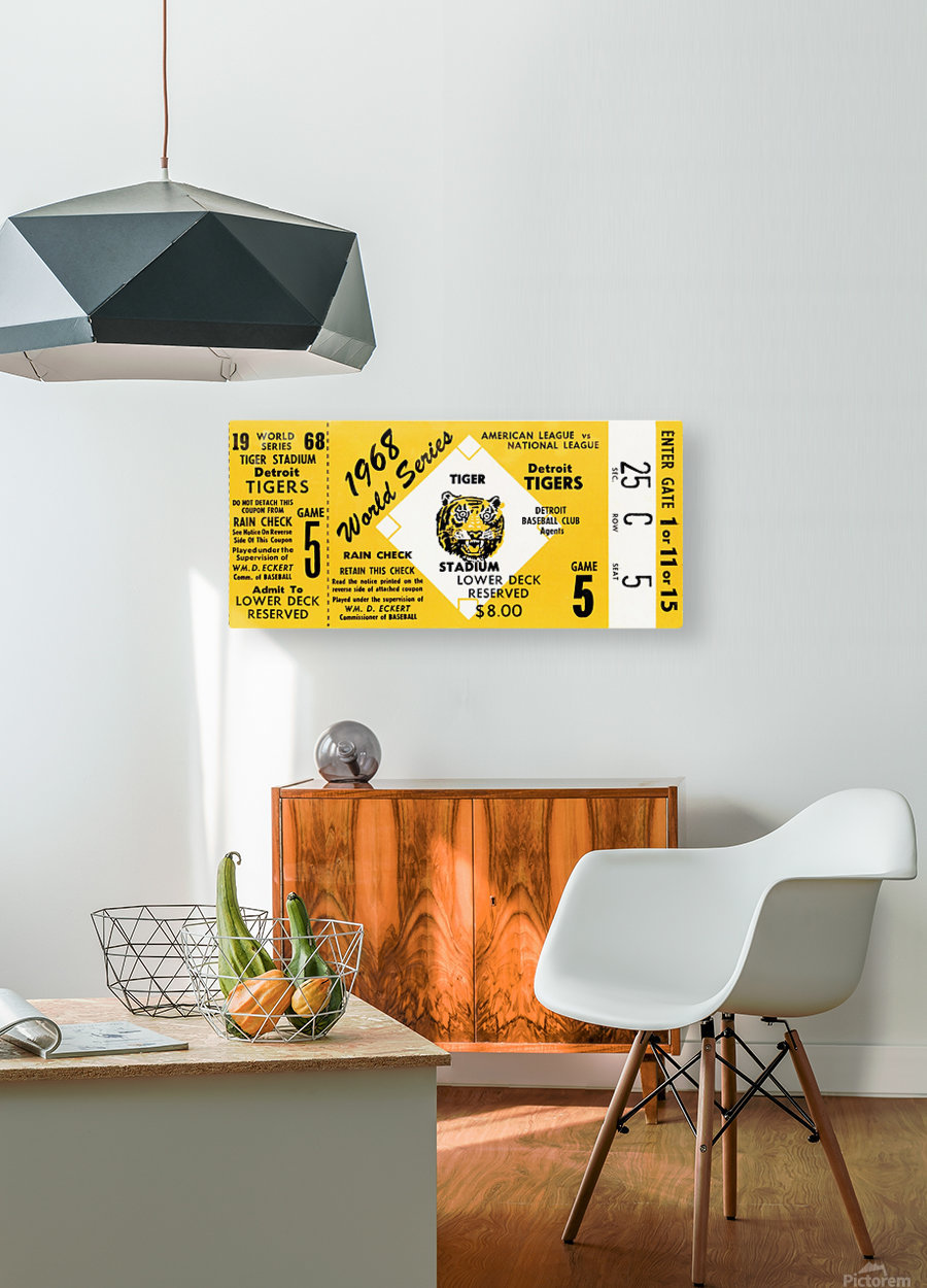 1968 Detroit Tigers World Series Ticket Art  HD Metal print with Floating Frame on Back