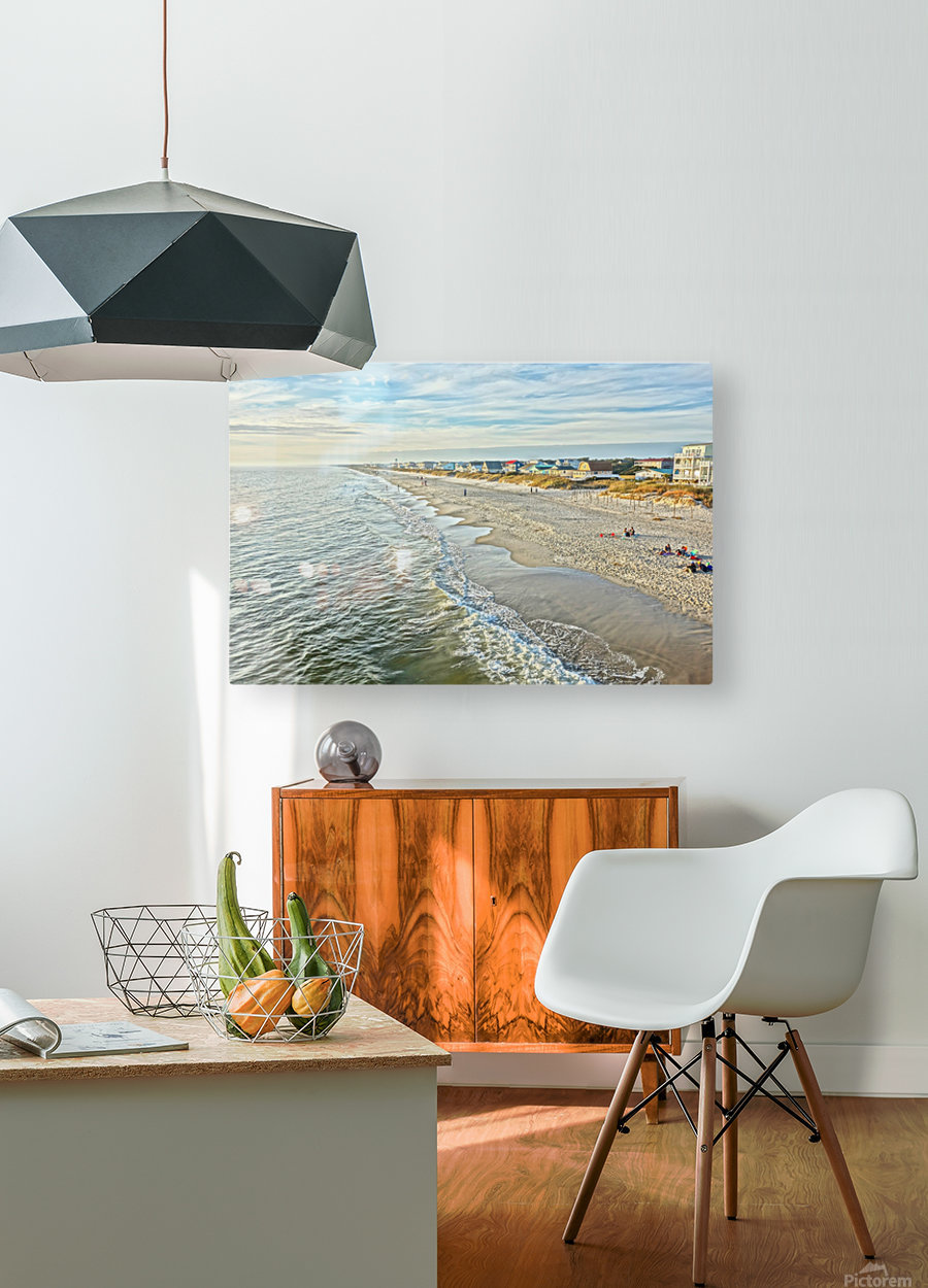 Oak Island Pier View2   HD Metal print with Floating Frame on Back