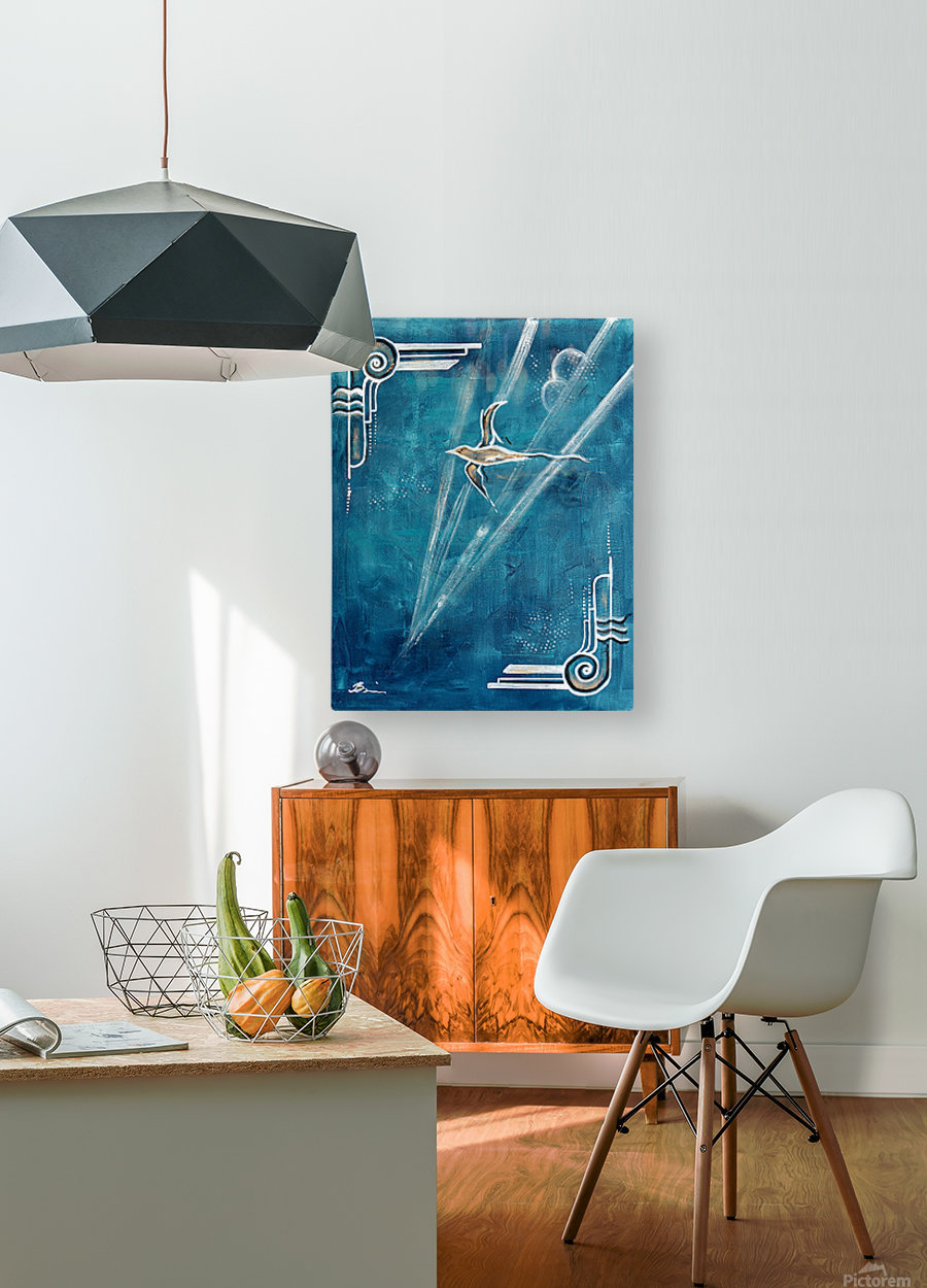 Art deco Swallow   HD Metal print with Floating Frame on Back