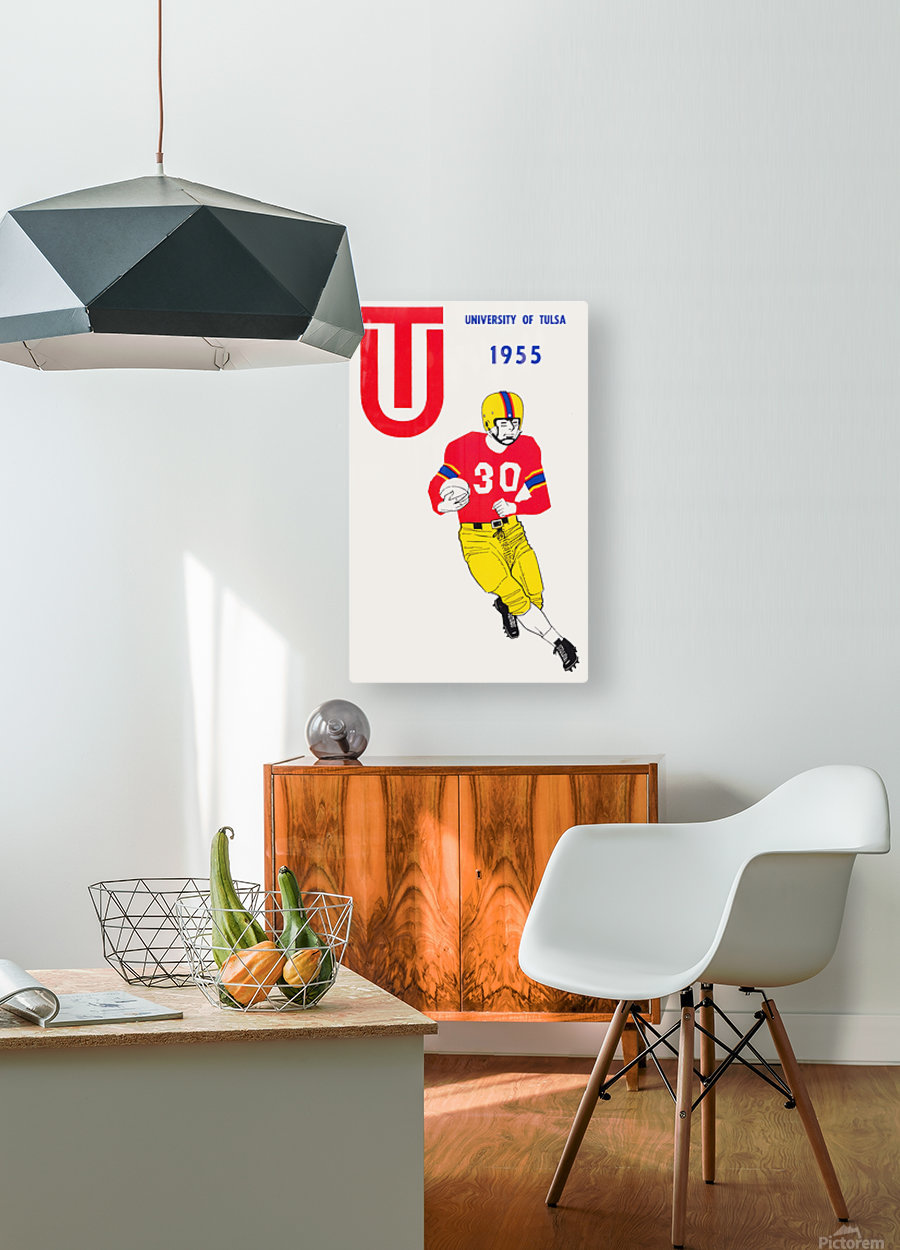 1955 university of tulsa football poster  HD Metal print with Floating Frame on Back