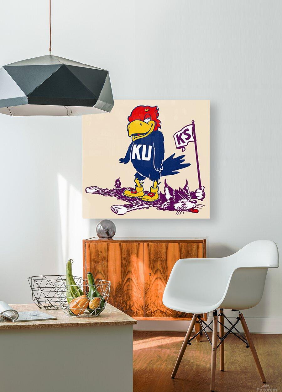 Vintage Kansas Jayhawk Standing Over K-State Wildcat Art  HD Metal print with Floating Frame on Back