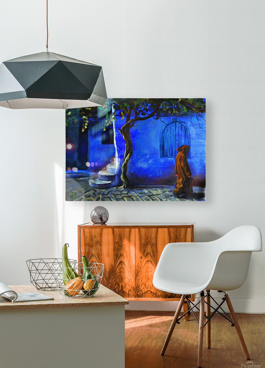 Blue city  HD Metal print with Floating Frame on Back