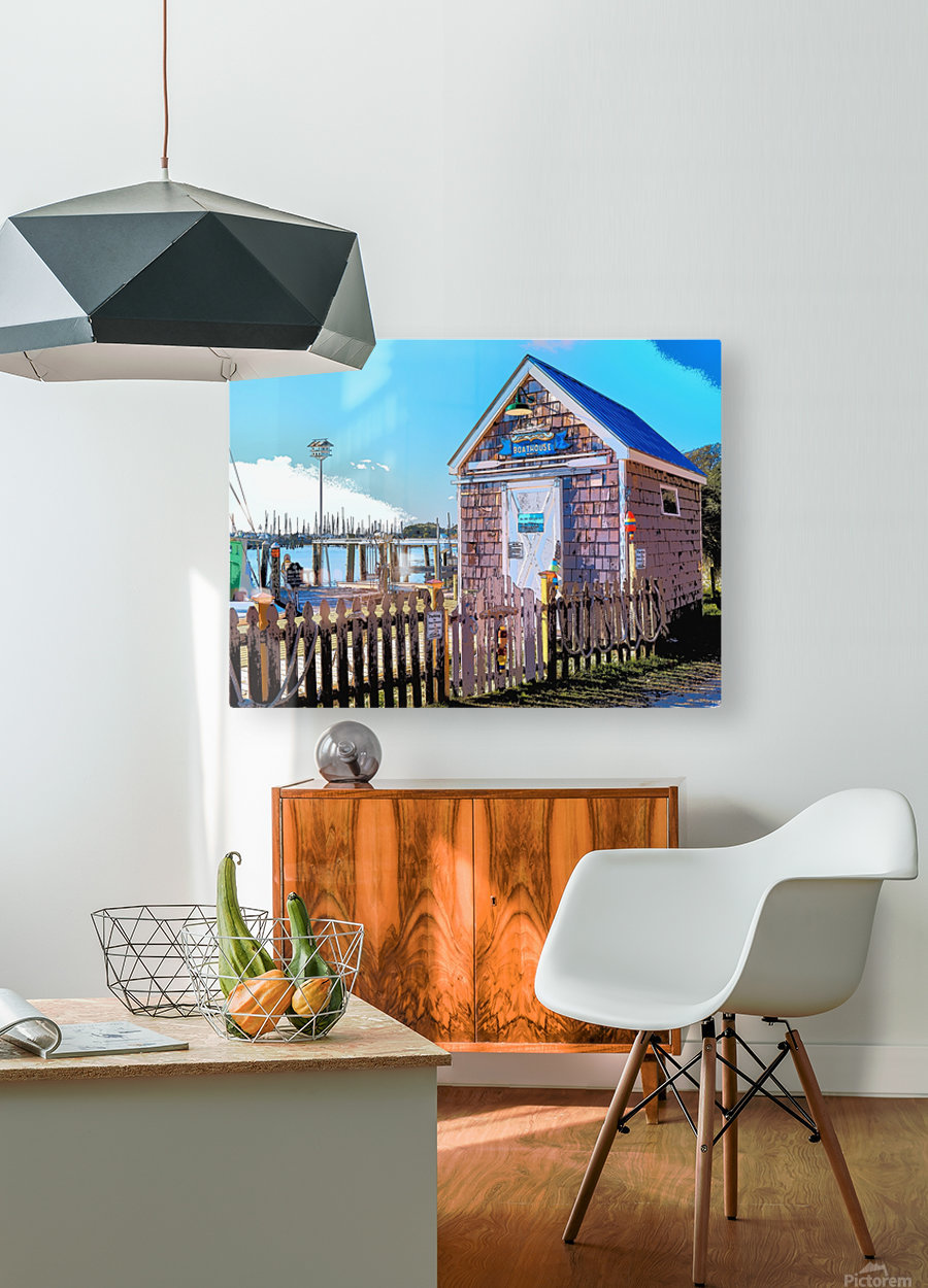 Yacht Basin boathouse  HD Metal print with Floating Frame on Back