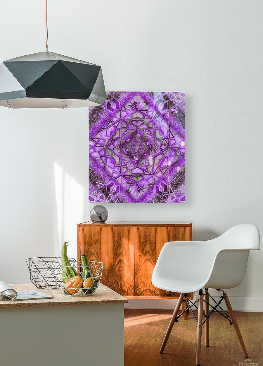 Purple Fractal Kaleidoscope Handdrawing  HD Metal print with Floating Frame on Back