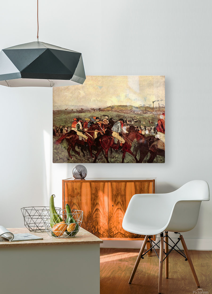 Men s riders before the start by Degas  HD Metal print with Floating Frame on Back