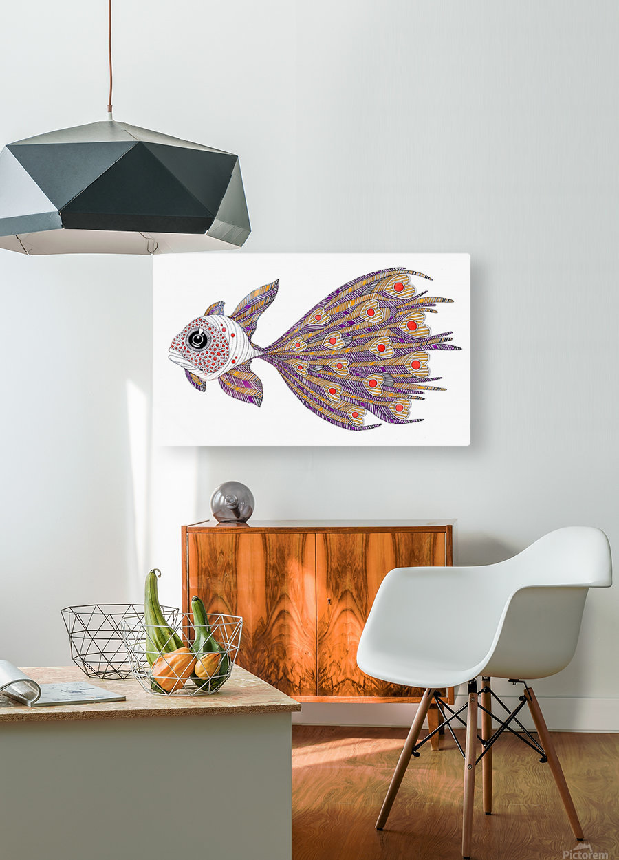 heart fish  HD Metal print with Floating Frame on Back