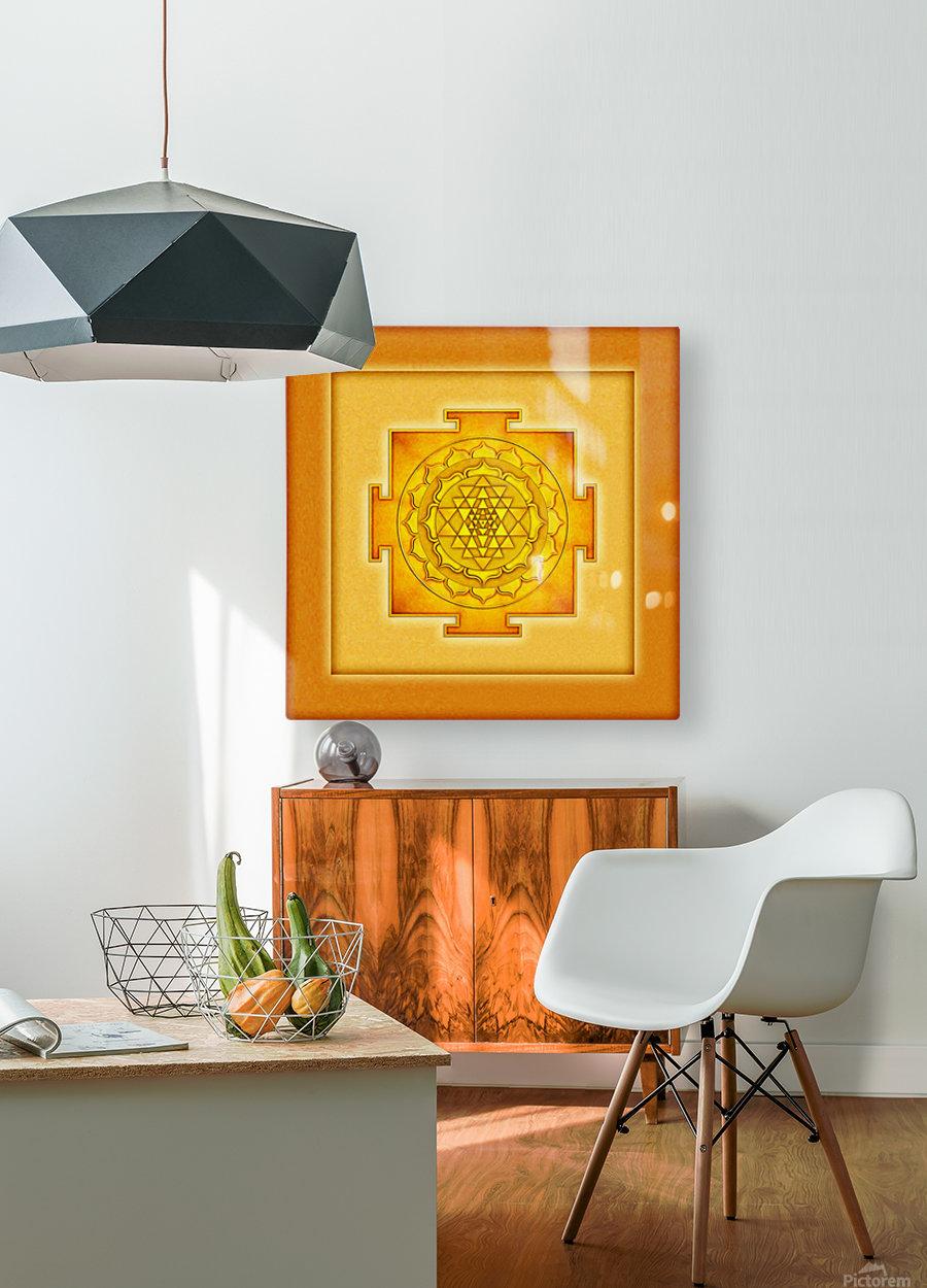 Golden Sri Yantra III  HD Metal print with Floating Frame on Back