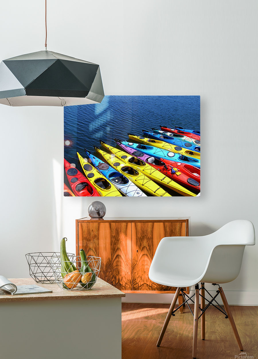 Colorful Kayaks  HD Metal print with Floating Frame on Back