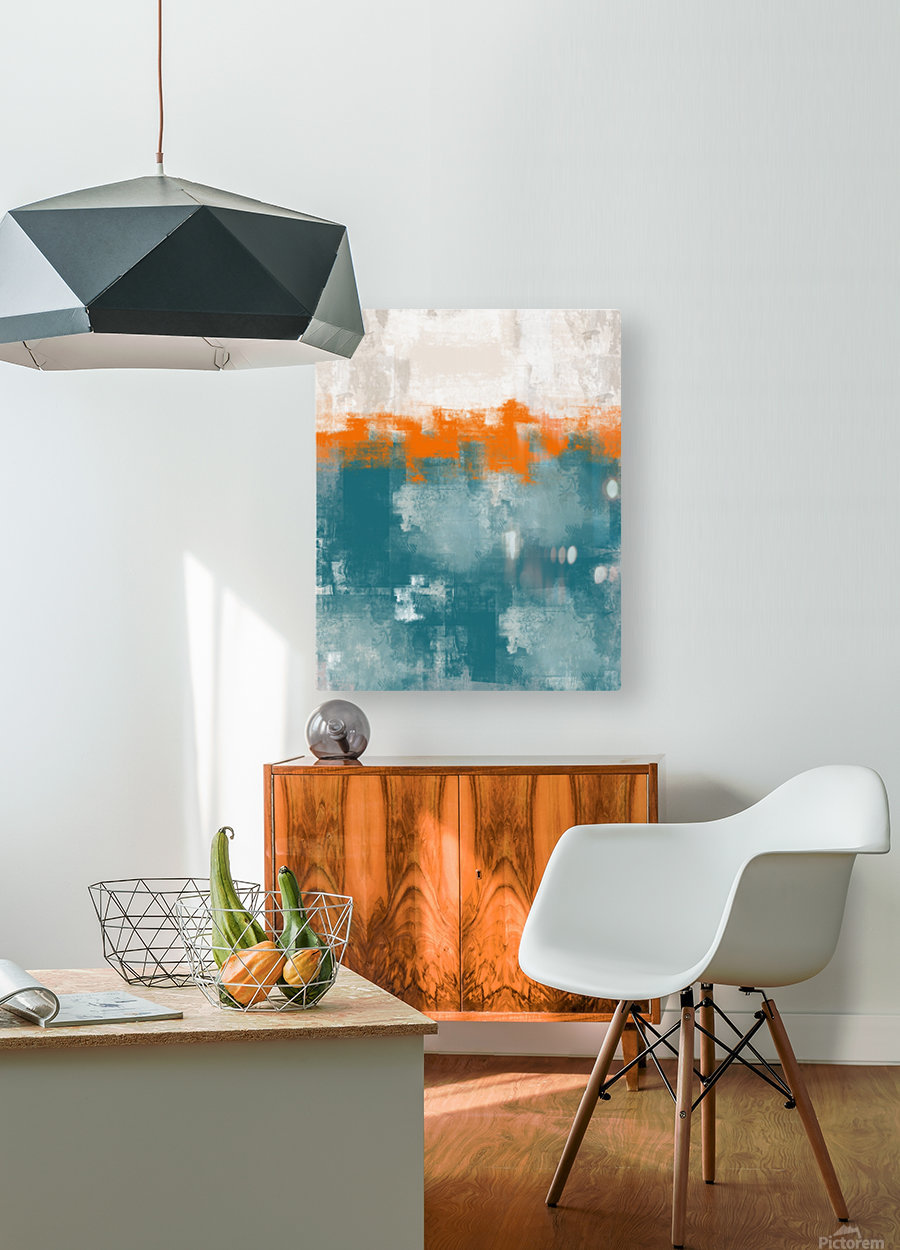Blue Gray Orange Abstract DAP 20014  HD Metal print with Floating Frame on Back